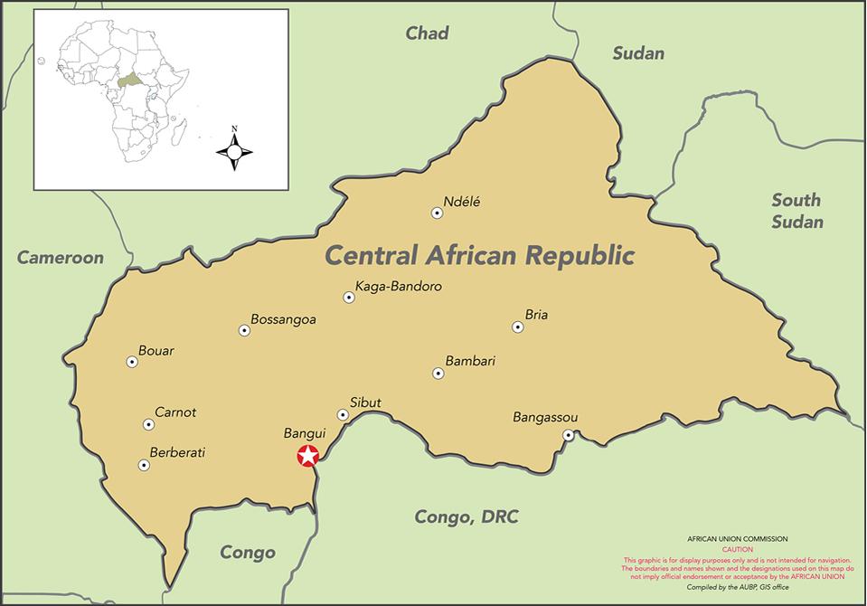 Map of CAR APSA Peace and Security AU