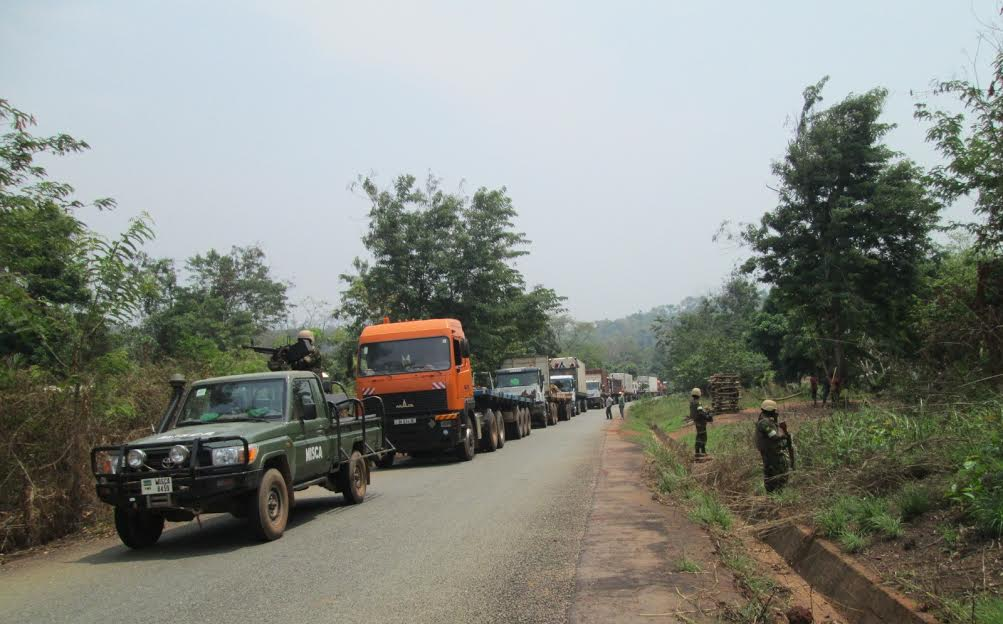 MISCA troops escort a convoy of 63 humanitarian aid and merchant vehicles from Bangui to to Garoua-Boulai on the frontier with Cameroon.
