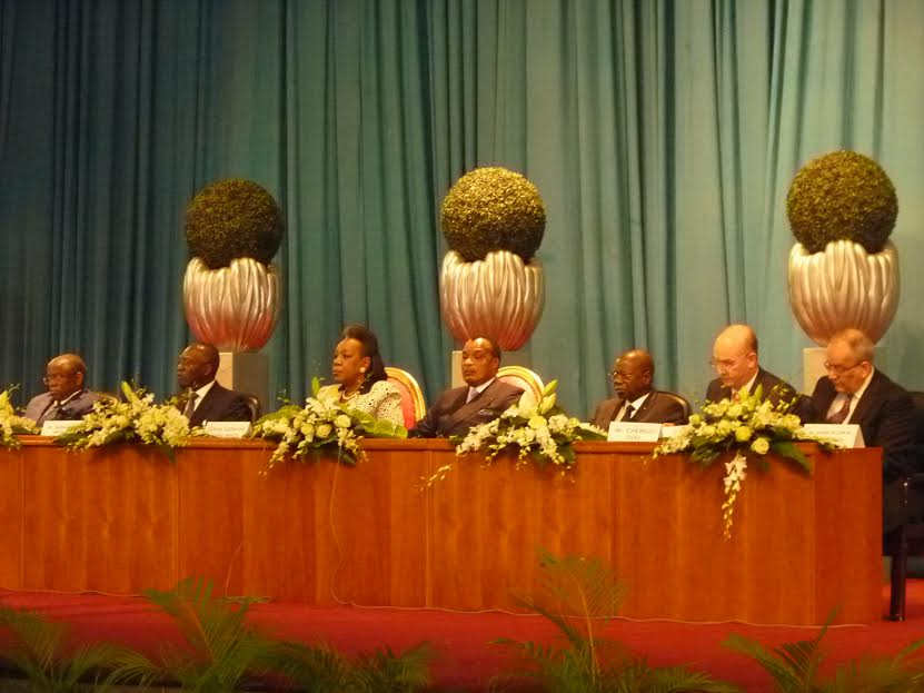 Opening the Central African Republic (CAR) National Reconciliation Forum in Brazzaville, with the Mediator, President Denis Sassou Nguesso of the Republic  of the Congo, the Transitional President of CAR, Catherine Samba-Panza, and the  AU Peace and Security Commissioner, Ambassador Smail Chergui